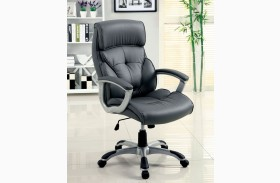 Dilbeek Gray Leatherette Adjustable Height Office Chair
