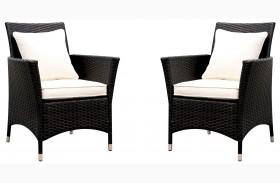 Leodore White Fabric Arm Chair Set Of 2