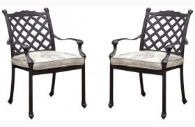 Chiara I Tan and Dark Gray Fabric Arm Chair Set of 4
