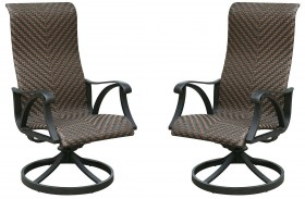 Chiara I Brown and Dark Gray Wicker Swivel Rocker Chair Set Of 2