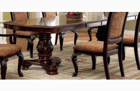 Bellagio Brown Cherry Rectangular Extendable Pedestal Dining Table