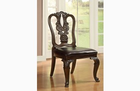 Bellagio Brown Cherry Wooden Side Chair Set of 2