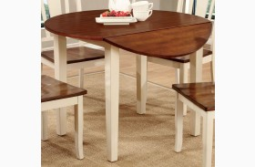 Dover II Vintage White and Cherry Drop Leaf Round Dining Table