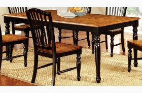 Mayville Black and Antique Oak Rectangular Extendable Leg Dining Table