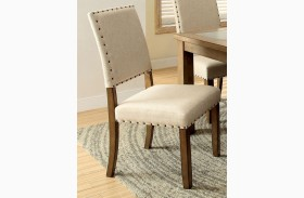 Melston I Ivory Flax Fabric Side Chair Set of 2