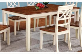 Torrington White and Cherry Rectangular Leg Extendable Dining Table