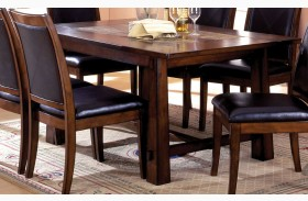Living Stone I Tobacco Oak Rectangular Marble-Insert Dining Table