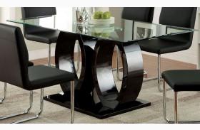 Lodia I Black Glass Top Rectangular Pedestal Dining Table