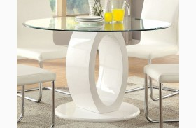 Lodia I White Glass Top Round Pedestal Dining Table