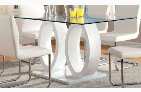 Lodia I White Glass Top Rectangular Pedestal Dining Table
