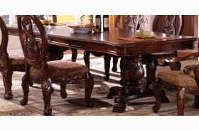 Tuscany I Antique Cherry Rectangular Extendable Double Pedestal Dining Table