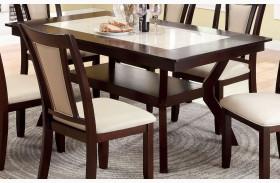 Brent Dark Cherry Faux Marble Insert Rectangular Trestle Dining Table
