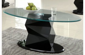 Halawa V Black Oval Glass Coffee Table
