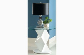 Halawa V White End Table