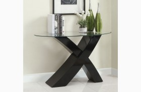 Xtres Black Oval Glass Top Sofa Table