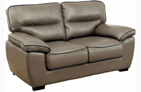 Lennox Gray Shined Faux Leather Loveseat