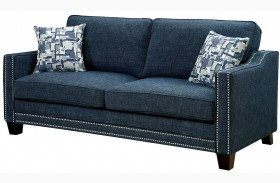 Kerian Blue Chenille Sofa