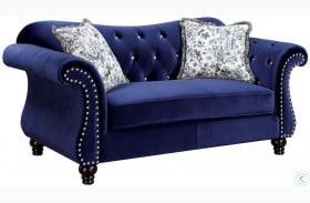 Jolanda Blue Flannelette Fabric Loveseat