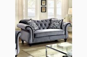 Jolanda Grey Flannelette Fabric Loveseat