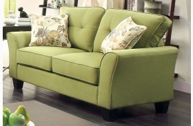 Claire Green Fabric Loveseat