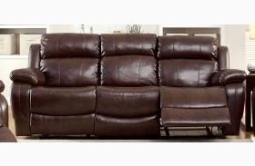 Hughes Dark Brown Dropdown Table Reclining Sofa