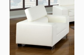 Makri White Bonded Leather Match Chair
