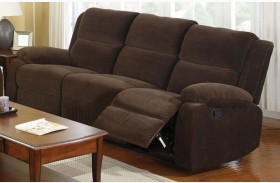 Haven Dark Brown Flannelette Reclining Sofa