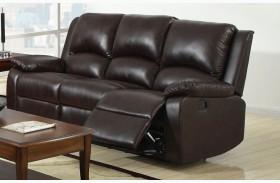 Oxford Rustic Dark Brown Leatherette Reclining Sofa