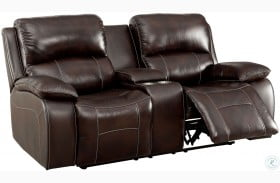 Ruth Brown Leather Reclining Loveseat