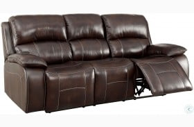 Ruth Brown Leather Reclining Sofa