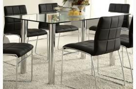 Oahu Glass Top Rectangular Leg Dining Table