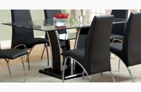 Glenview Black Glass Top Dining Table