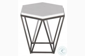 Corvus White And Coffee White Marble Top End Table