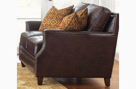 Caldwell Leather Loveseat with 2 Accent Pillows