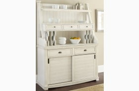 Cayla Distressed White Buffet With Hutch