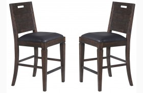 Pine Hill Rustic Pine Upholstered Counter Chair Set of 2