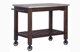 Larchmont Metallic And Dark Brown Kitchen Cart