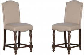 Baxenburg Brown Upholstered Barstool Set of 2