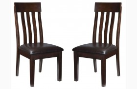 Haddigan Dark Brown Dining Upholstered Side Chair Set Of 2