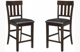 Haddigan Dark Brown Upholstered Counter Stool Set of 2