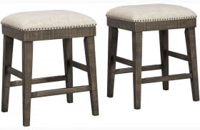 Wyndahl Rustic Brown Upholstered Stool Set Of 2