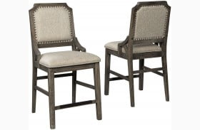Wyndahl Rustic Brown Upholstered Bar Stool Set Of 2