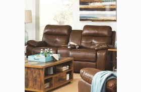 Damiano Faux Leather Glider Reclining Loveseat with Console