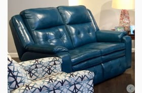 Inspire Peacock Double Reclining Leather Loveseat