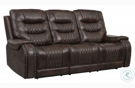 A889D-405-1749 Brown Leather And Fabric Power Reclining Sofa