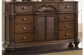 Palm Court II Coco Brown Triple Dresser