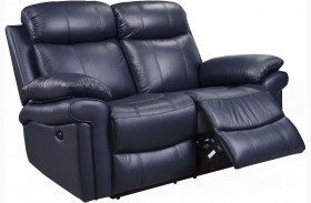 Shae Joplin Blue Leather Power Reclining Loveseat