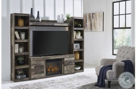 Derekson Multi Gray Entertainment Wall With Fireplace