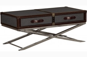 Hamilton Cranberry Leather Stainless Steel Cocktail Table