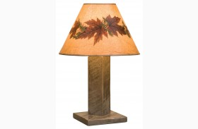 Frontier Driftwood Table Lamp With Large Foliage Lamp Shade